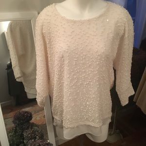 """Winter"" white lightweight knubbly sparkly sweater"